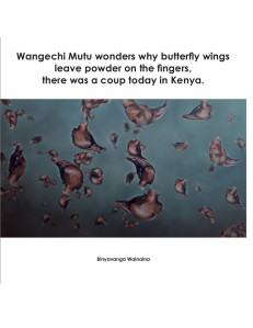 "Download: ""Wangechi Mutu wonders why butterfly wings leave powder on the fingers, there was a coup today in Kenya."" by Binyavanga Wainaina (pdf)"