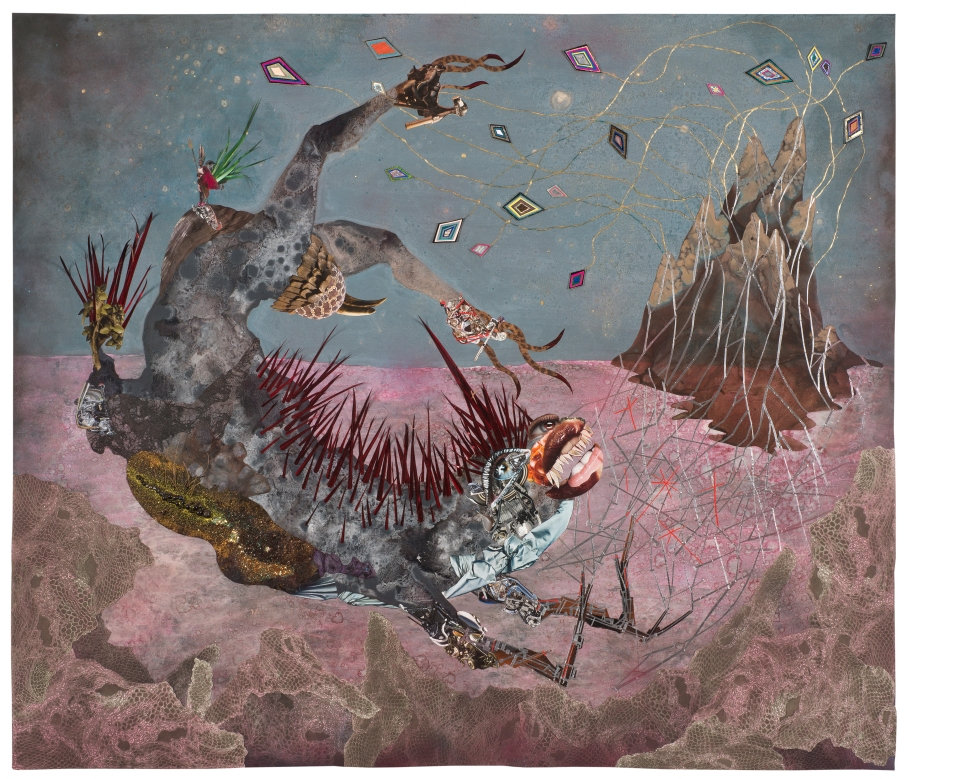 The screamer island dreamer, 2014 Collage painting on vinyl Unframed: 184.8 x 154.9 cm 723/4x61in Framed: 199.5 x 169.5 x 7.3